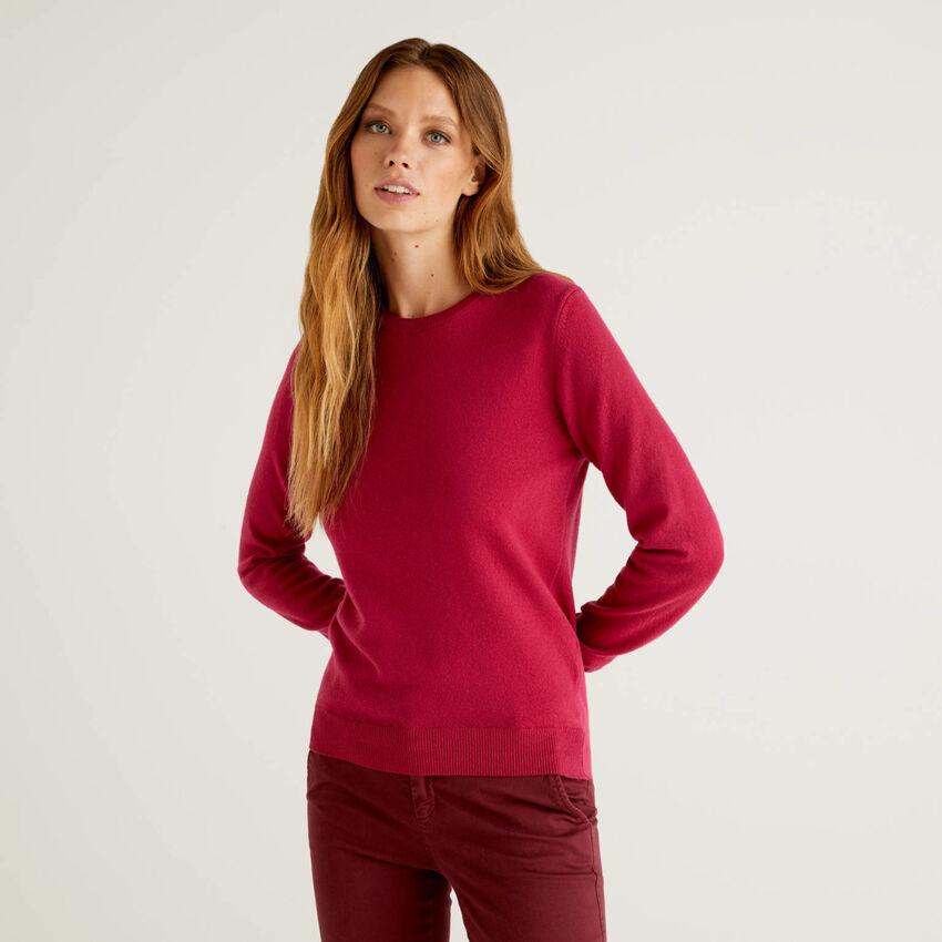 Cyclamen crew neck sweater in pure virgin wool