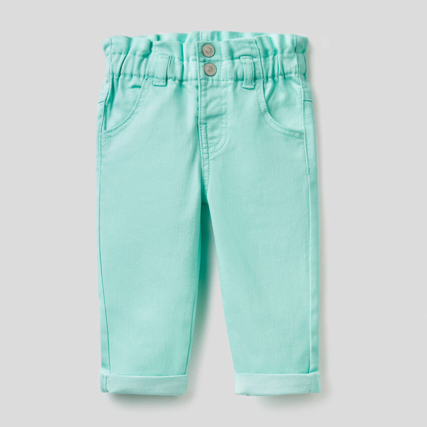 Paper bag trousers in stretch fabric