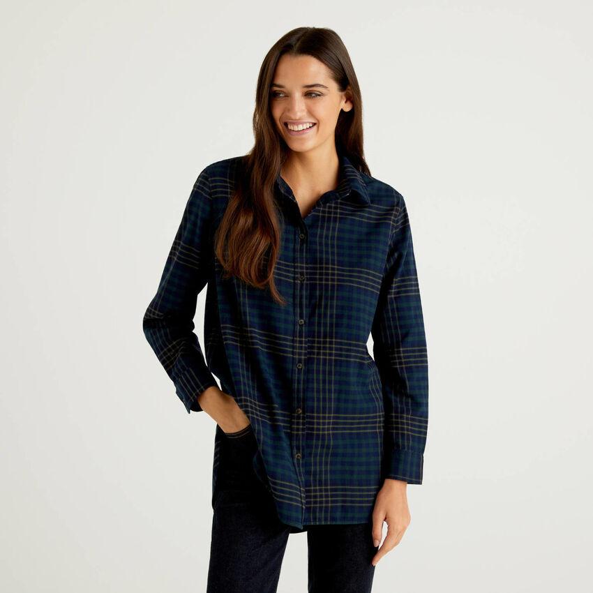 Long check shirt in 100% cotton