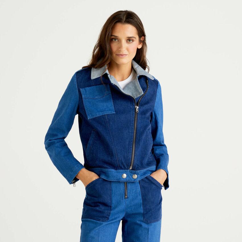Denim patchwork biker jacket