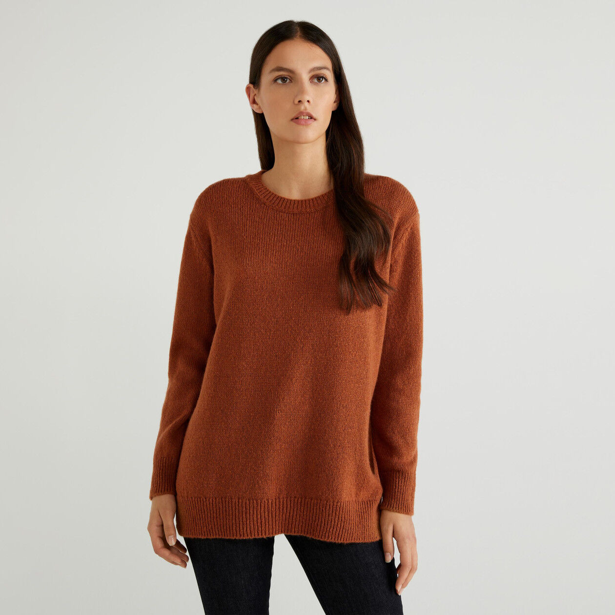 Soft sweater with slits