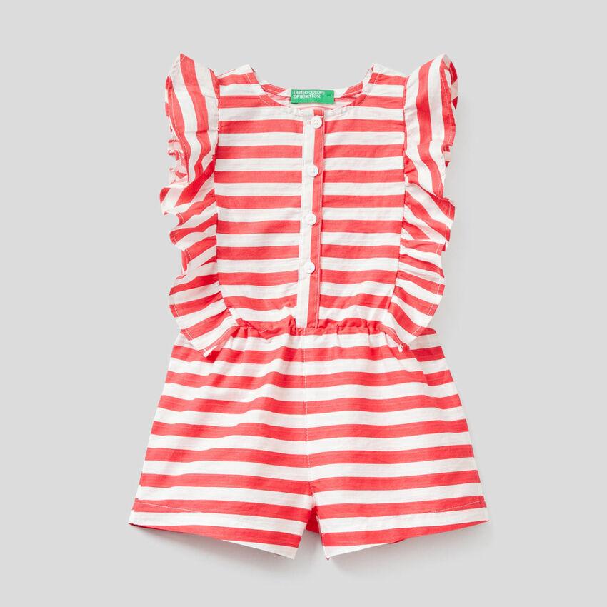 One-piece striped jumpsuit