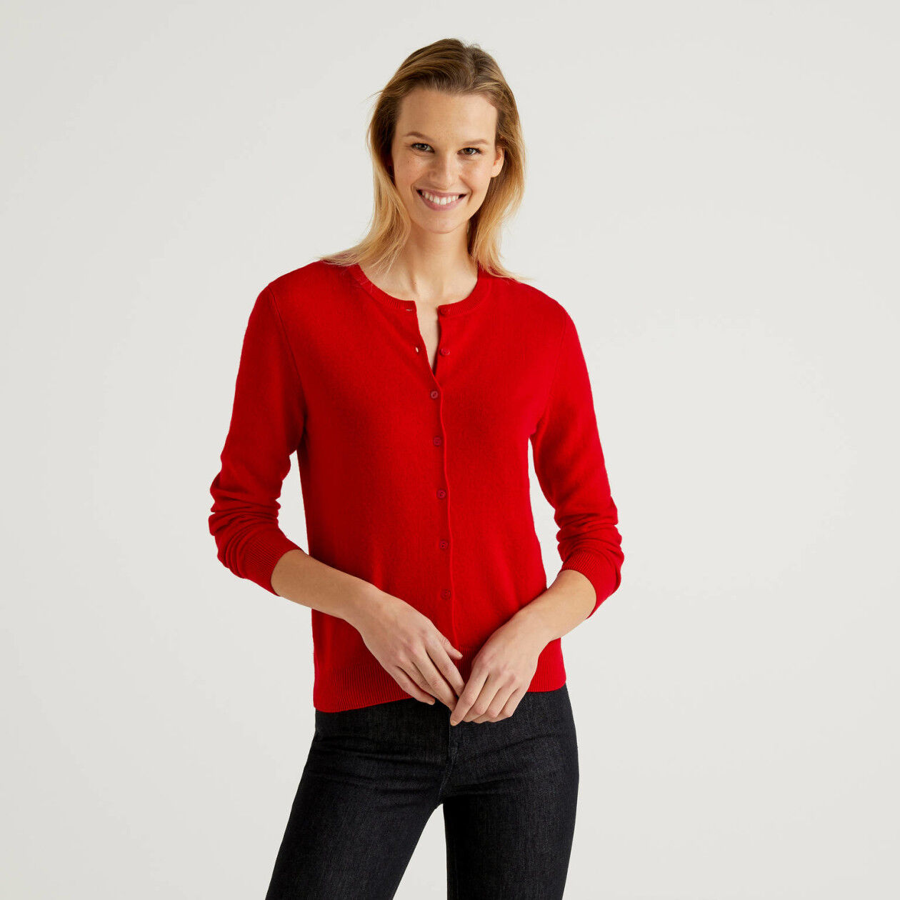 Red crew neck cardigan in pure virgin wool
