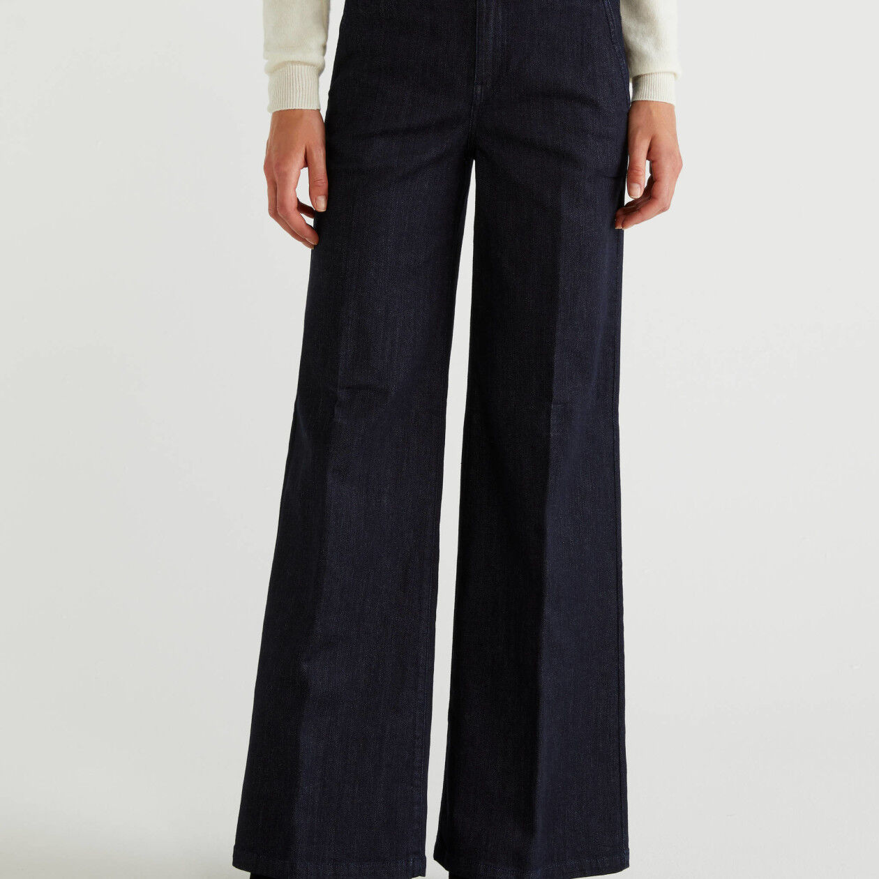 Flared denim trousers