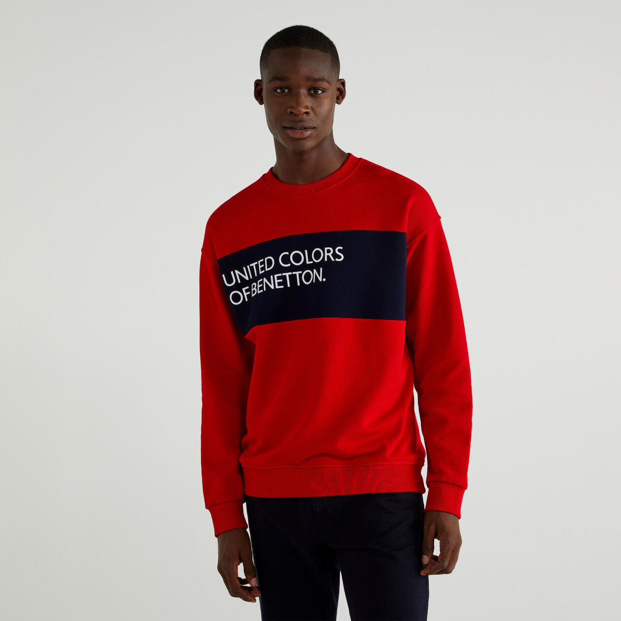 Sweatshirt in cotton with clashing band