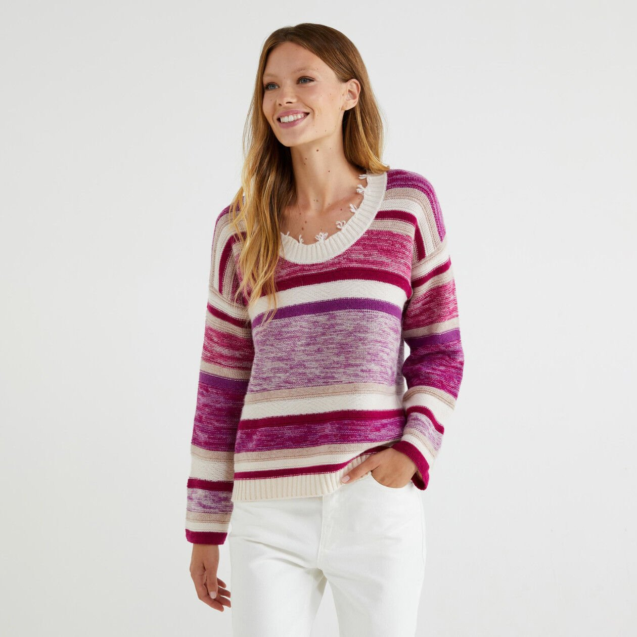 Striped jacquard sweater