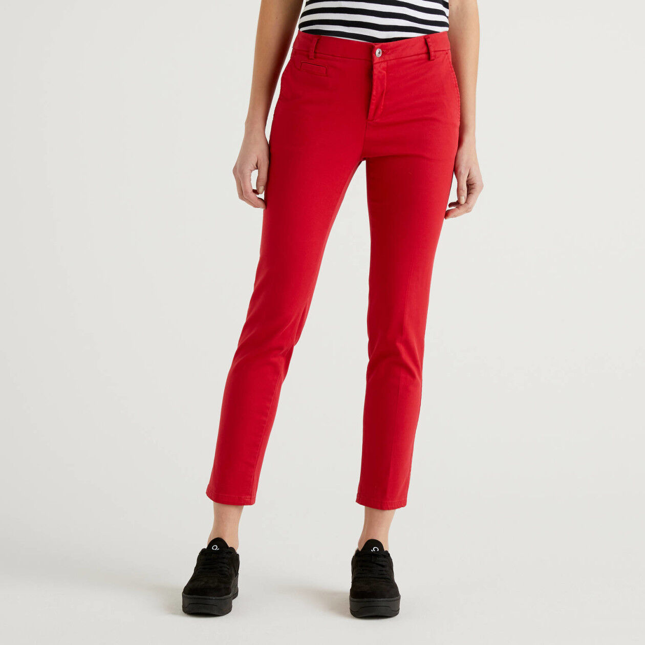 Red slim fit cotton chinos
