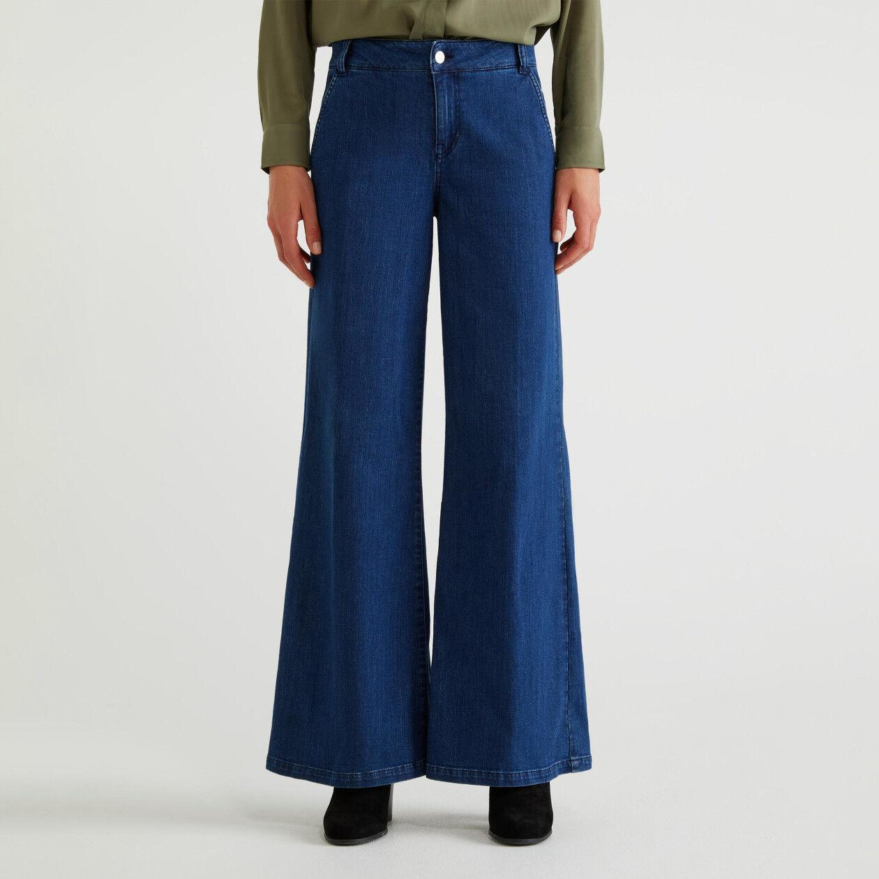 Flared denim trousers