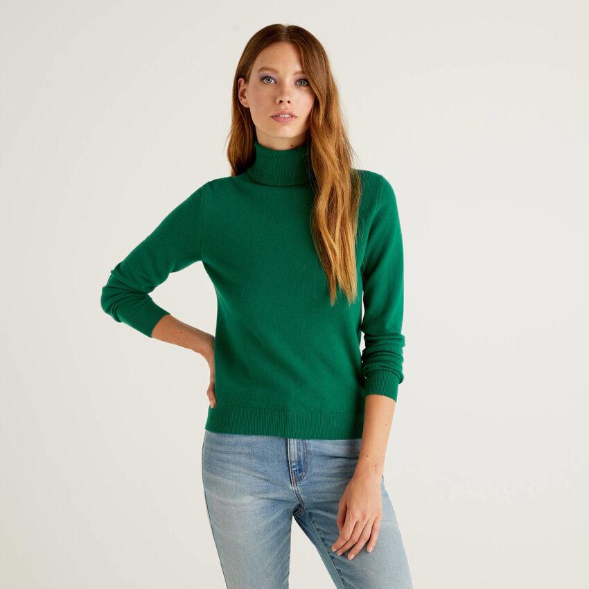 Dark green turtleneck sweater in pure virgin wool
