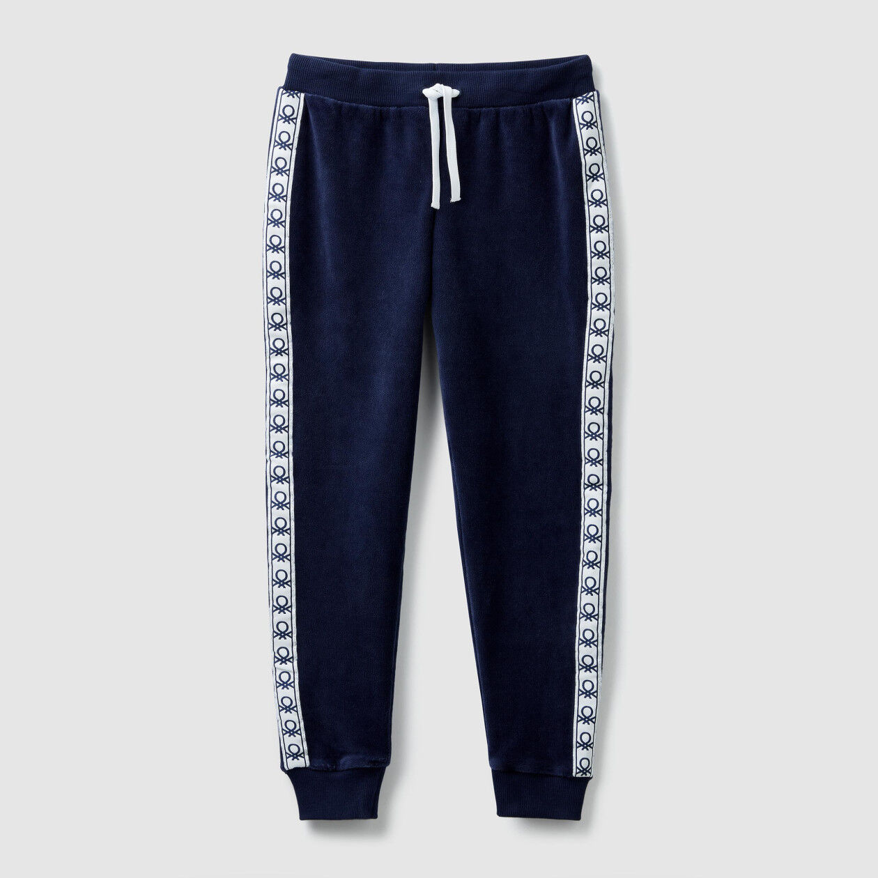 Chenille trousers with bands
