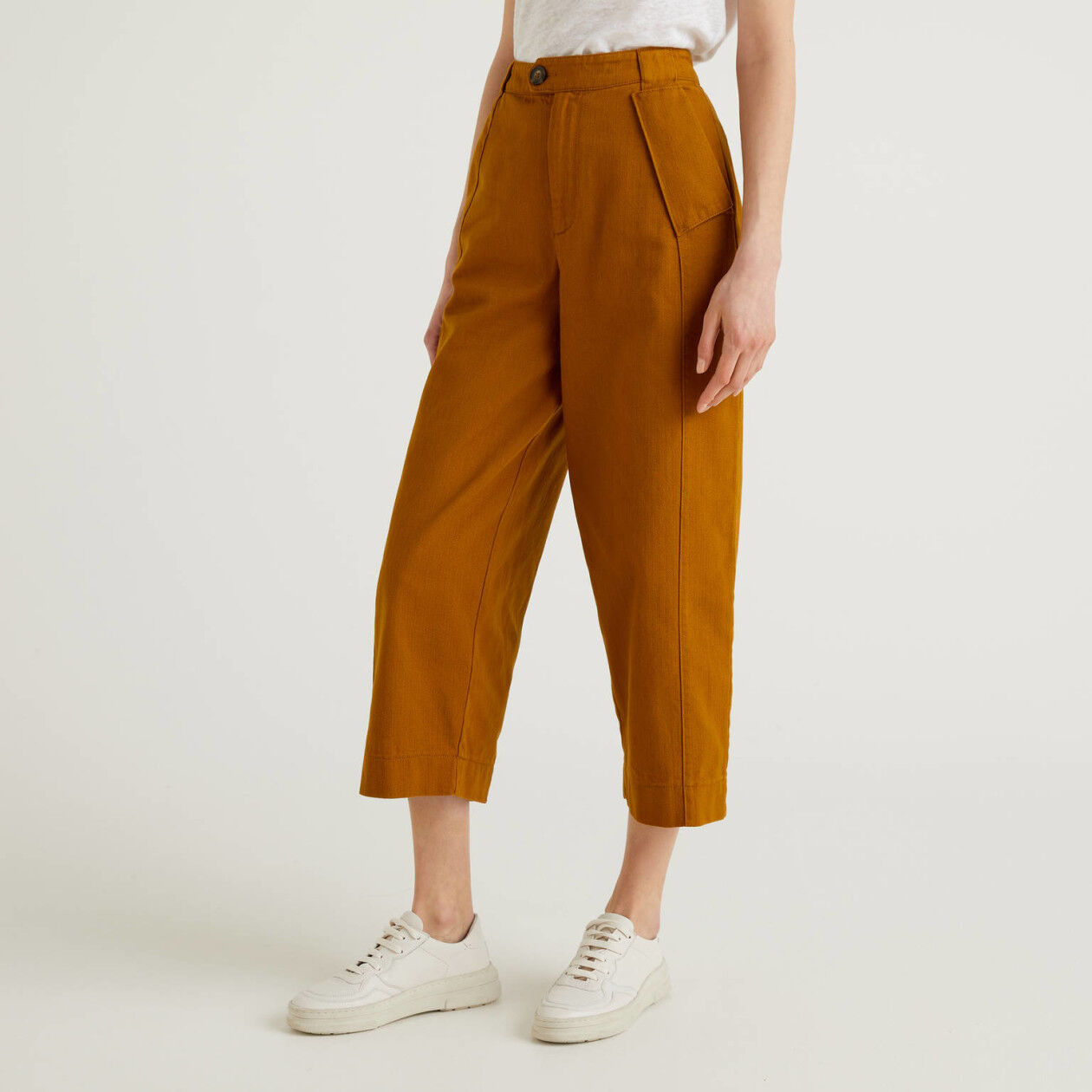 Trousers with wide leg in pure cotton